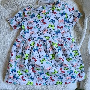 9 month Butterfly Dress. Red/blue/neon yellow/pch